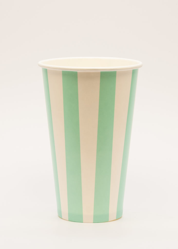 Candry Stripe cups for cold drinks - Green (16oz)