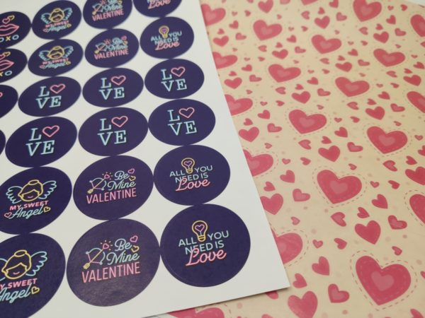 Hearts Greaseproof Paper and Stickers