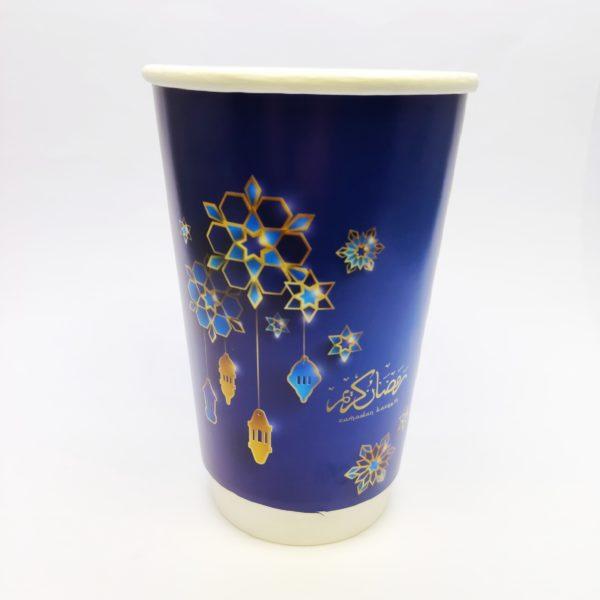 16oz Ramadan Printed Paper Cups in Blue